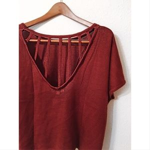 Umgee burgundy cage back knitted top nwot